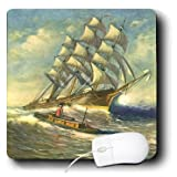 mp_163758_1 Florene Seascape Art - Image of painting of tall ship nearing port - Mouse Pads