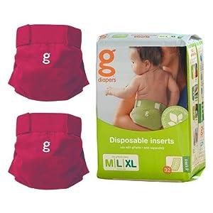 gDiaper Starter Bundle - 2 gPants + Disposable Inserts - Large