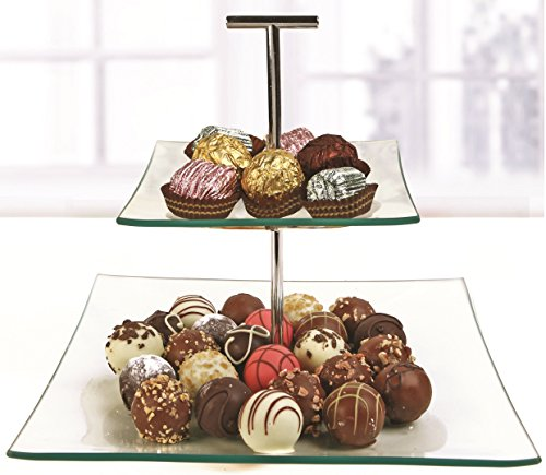Circleware Chic 2 Tier Square Glass Cake Candy Dessert Serving Plates with Metal Handle - 6