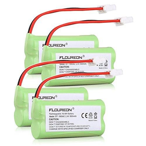 Floureon 4 Packs 800mAh Replacement Rechargeable Cordless Phone Battery for VTech BT166342 BT-166342 BT266342 BT-266342 BT183342 BT283342, Vtech CS6319 American Telecom E30021CL E30025CL