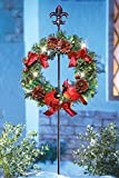Solar Light Cardinal Wreath Fleur De Lis Display Stake Decorative Pinecones Berries Bow Christmas Seasonal Yard Outdoor Decoration