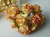 50 Pink Cream Mulberry Paper Rose Flower Wedding Craft 3 35 cm