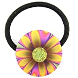 Ultra Pink Violet Yellow Green Funkadelic Daisy Printed Silk Screen Woven Fabric Covered Button Hair Elastic
