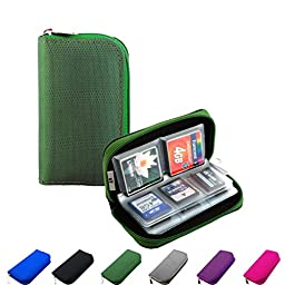 Litop® Memory Card Carrying Case Holder Pouch Bag 8 Pages and 22 Slots for SDHC SD Cards MMC CF Micro SD Storage Protector (Green)