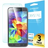 Galaxy S5 Screen Protector, Spigen® [Full HD] Samsung Galaxy S5 Screen Protector [Crystal Clear][3-PACK] **Lifetime Warranty** JAPANESE BASE PET FILM High Definition (HD) Premium Ultra Clear Front Screen Protector for Galaxy S5 / Galaxy SV / Galaxy S V (2014) - Crystal CR (SGP10722)