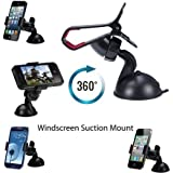 Heavy Duty iPhone 6 Smart Mobile Phone PDA In Car Windscreen Strong Suction Mount Universal Holder Cradle Stand 360 Rotation for iPhone 6 6+ 5 5S 5C 4 2 3 3G 3Gs 4 4S Samsung S6 S5 S4 S3 Note 3 2 I9100 S5830 HTC NOKIA NEXUS ZTE BLACKBERRY LG all smart phones and GPS devices up to 100mm screens Can Be Use Wit Most Covers ON or to Hold Coffee Cups Parking Tickets And Many More by G4GADGET®