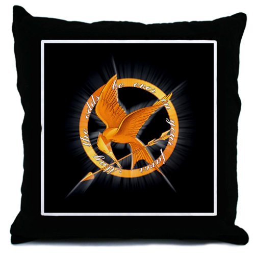 May the Odds Mockingjay Hunger Games Throw Pillow by CafePress