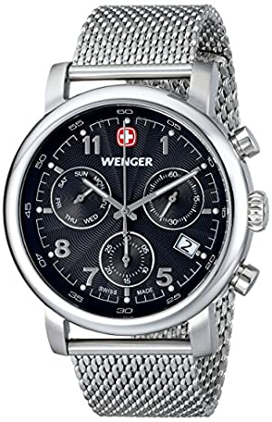 Wenger Men's 01.1043.102 Urban Classic Silver-Tone Chrono Watch with Mesh Bracelet