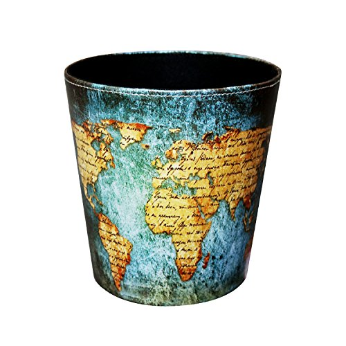 Wastebasket,Sanmersen European Style World Map Pattern PU Leather Paper Basket Trash Can Dustbin Garbage Bin (Designer Trash Can compare prices)