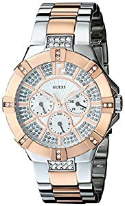 GUESS Women's U0024L1 Dazzling Silver & Rose-Gold-Tone Sport Watch