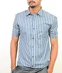 Ring Bell Men's Formal Shirt (ST002_Blue_40)