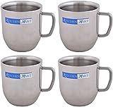 Kitchen Mart Stainless Steel Coffee Mug, 190 ml, 4-Piece, Silver