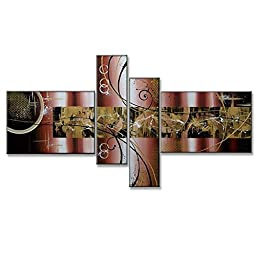 Neron Art - March Tripadvisor Abstract Oil Paintings Set of 4 Panels on Gallery Wrapped Canvas 56X32 inch (142X81 cm)