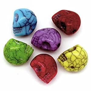 Rockin Beads Brand, 100 Acrylic Spacer Beads Crackel Halloween Skull Mixed 11mm with Approx 1.8mm Hole from China