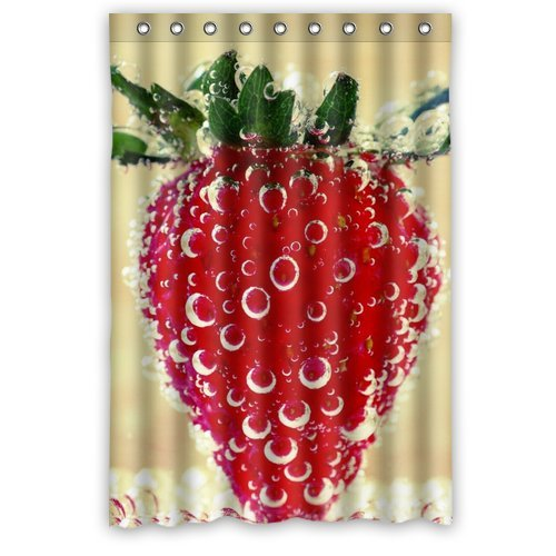 Custom Unique Design Strawberry Waterproof Fabric Shower Curtain, 72 By 48-Inch front-290060