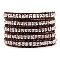 Chan Luu Clear Quartz Wrap Bracelet on Brown Leather