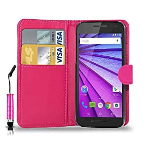 GBOS MOTOROLA MOTO G2 (2nd Gen) LEATHER WALLET BOOK FLIP CASE COVER POUCH CARD & CASH SLOT WITH MINI TOUCH STYLUS PEN PINK