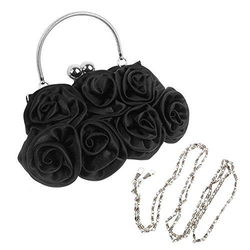 TOOGOO(R) Rosette Pochette Soiree Fleur Noire Bourse Sac a Main Banquet Sac