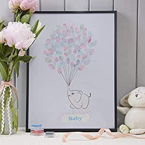 Baby Elephant Finger Print Keepsake Guestbook, Mixed: Kitchen & Dining