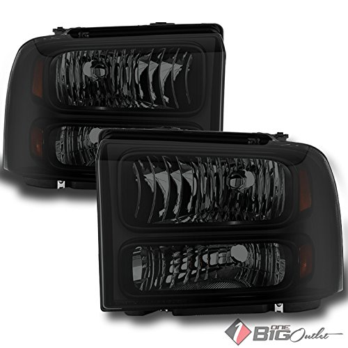 For 2005-2007 Ford F-Series SD, 05 Excursion Darkside Blk Smoked Headlights Assembly Pair Left+Right/2006 (F350 Smoked Headlights compare prices)