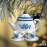 Teapot and Teacups Tea for Two Porcelain Friendship Ornament and Card