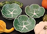 Set of 4 Fruit Sauce Bowls Bordallo Pinheiro Green Cabbage Leaf Majolica Portugal