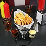 Retro French Fry Cone with Sauce Dippers | Fast Food Basket, Chip Cone