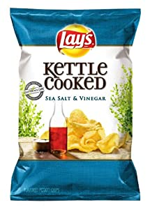 Lay's Kettle Cooked Potato Chips, Sea Salt and Vinegar, 8.5 Ounce (Pack of 4)