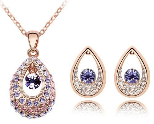 Swarovski Elements Crystal Princess Teardrop Pendant Necklace 47CM And Earrings Jewellery Set - CN9038Z2