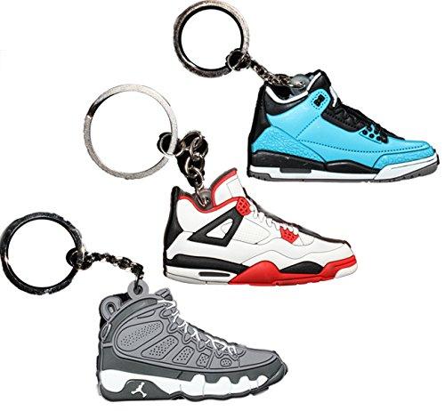 3 PAIRS Air Jordan Michael Jordan Shoe Game Basketball Jumpman Key Chain #37 #5 #44