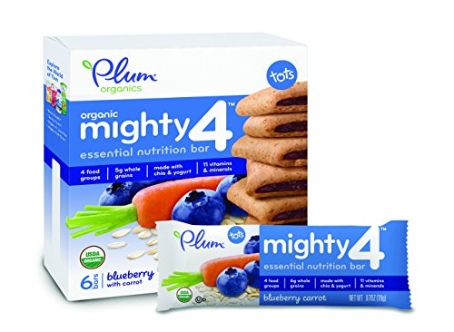 Plum Organics Mighty 4 Essential Nutrition Bars, Blueberry with Carrot, 0.67 Oz Bars, 6 Count (Pack of 8)