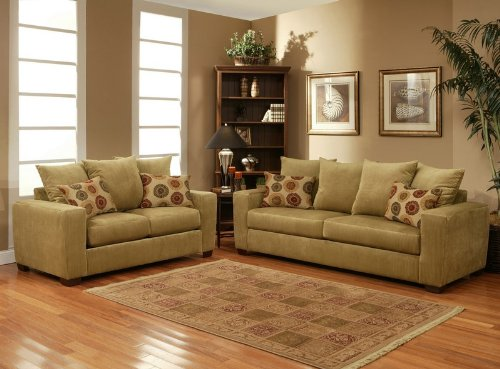 Buy Low Price Benchley 2pc Sofa Loveseat Set with Floral Accent Pillows in Sugar Lime Color (VF_BCL-TOMMY)