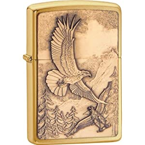 New Zippo Lighter Where Eagles Dare Emblem, Brushed Brass by Zippo