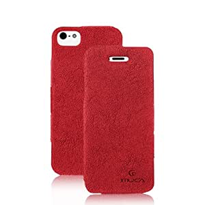 IMUCA Vintage Suede Leather Side flip Cover Case for Apple iPhone 5S (Red) + IMUCA HD Screen Protector