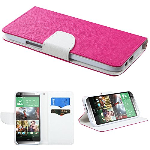 Mylife (Tm) Divine Pink + White {Modern Design} Faux Leather (Card, Cash And Id Holder + Magnetic Closing) Slim Wallet For The All-New Htc One M8 Android Smartphone - Aka, 2Nd Gen Htc One (External Textured Synthetic Leather With Magnetic Clip + Internal