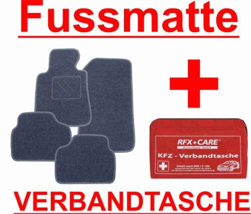 SCHNÄPPCHEN Passform Fussmatte graphit + KFZ-Verbandtasche für Mercedes E-Klasse W211 / S211 Limousine / T-Modell Kombi Bj. 03/02 - 02/09 mit Mattenhalter vorne