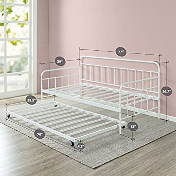 ZinusFlorenceTwin Daybed andTrundleFrame Set / Premium Steel Slat Support / Daybed and Roll OutTrundleAccommodate / Twin Size Mattresses Sold Separately