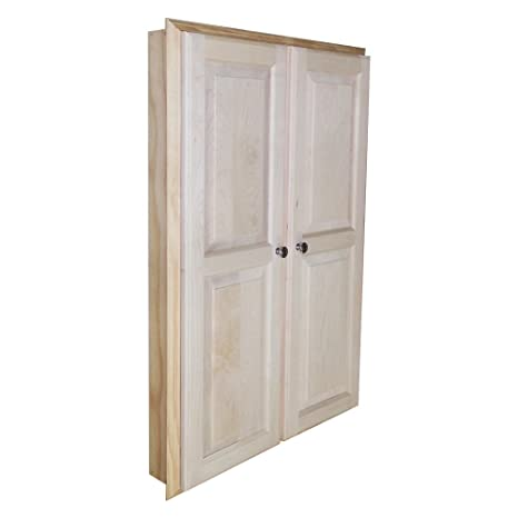 "WG Wood Products Recessed Dual Mount Double Door Manhattan Medicine Storage Cabinet, 42"", Unfinished Pine"