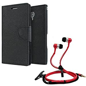 Aart Fancy Diary Card Wallet Flip Case Back Cover For Mircomax E313-(Black) + Zipper earphones/Hands free With Mic *Stylish Design* for all Mobiles By Aart store