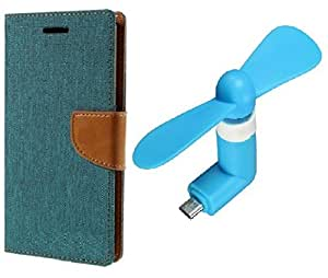 DENICELL Royal Dairy Style Flip Cover For MICROMAX CANVAS JUICE 2-AQ5001(MATTE GREEN,USB COOL FAN)