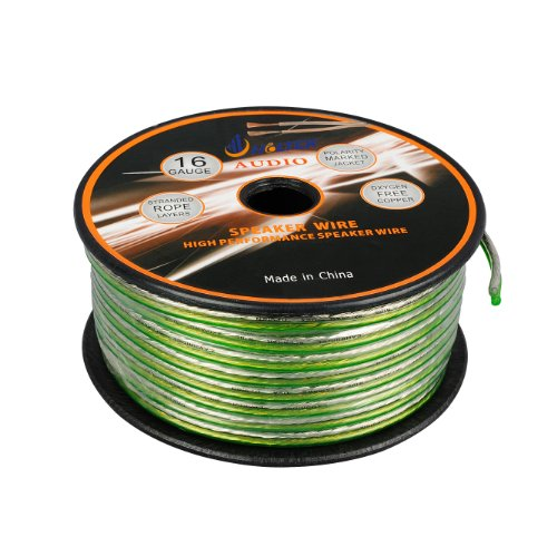 Aurum Cables 16 Gauge Transparent Pvc Speaker Wire W/ Sequential Ft Markings Every 5 Ft - 50 Feet