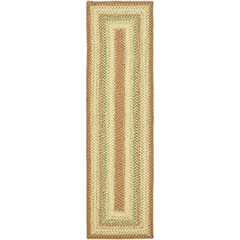 "Safavieh Braided Collection BRD303A Hand Woven Rust and Multi Runner (23"" x 8)"