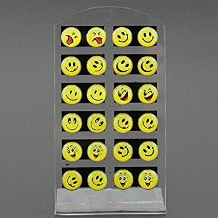 1 Set of 12 Pairs Round Yellow Happy Face Emoji Earrings cute Funny Smiley Stud Earrings Christmas Gift