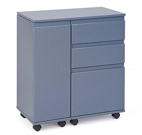 Bureau coloris gris sur roulettes en MDF laqué - Dim : 66-121 x 36,5 x 72 cm -PEGANE-