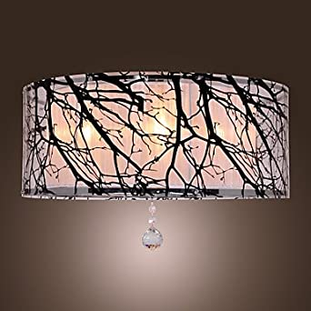 Acryl 4 Light Flush Mount In Twig Pattern With Crystal