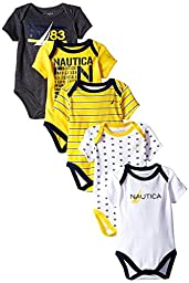 Nautica Baby-Boys Newborn 5 Pack N83 Bodysuit, Assorted, 0-3 Months