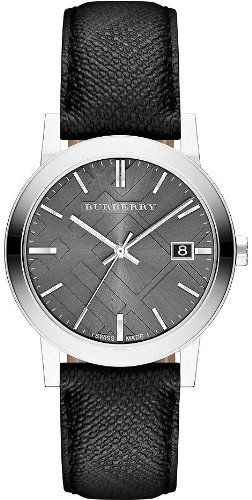 Burberry Grey Dial Black Polyvinl Mens Watch BU9030