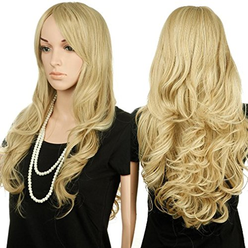 [28'' / 70cm Heat Resistant Synthetic Wig Japanese Kanekalon Fiber Full Wig with Bangs Long Curly Wavy Full Head for Women Girls Lady Fashion and Beauty Mix Ash] (Wavy Guy Costume)