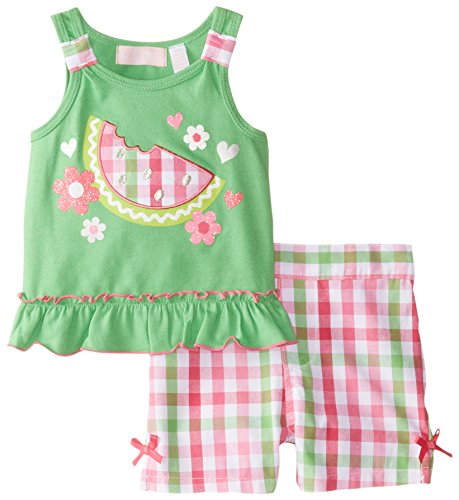 Kids Headquarters Baby Girls' Tee with Plaided Shorts, Green, 12 Months