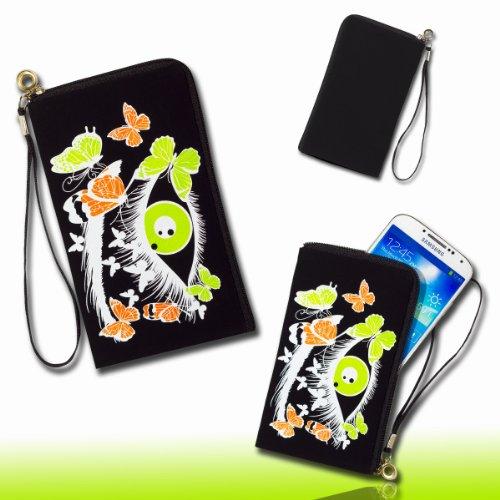 Handy Tasche Hülle Case schwarz / grün M64 für Samsung C3312 Rex60 / S5222R Rex80 / Galaxy Young S6310 / Galaxy Young Duos S6312 / Galaxy Pocket Plus S5301 / Samsung Galaxy Pocket Neo S5310 / Alcatel OT 903D / Alcatel OT Star 6010D
